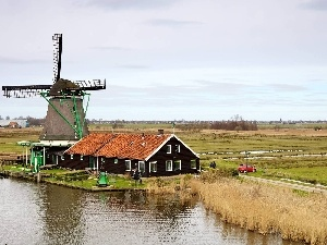 field, Way, lake, Farms, Windmill