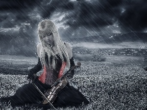 Women, Rain, Field, violin