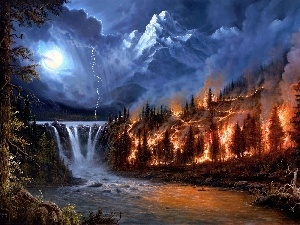 fire, Mountains, waterfall, Storm, Night