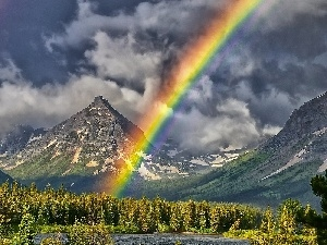 forest, lake, clouds, Mountains, Great Rainbows
