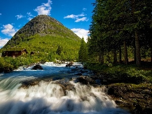 Houses, mountains, forest, waterfall, River, Apple