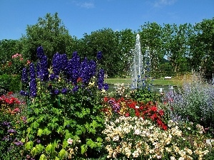 fountain, Park, Flowers
