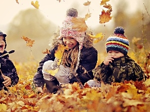 Kids, Autumn, fun, Park