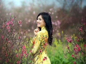 Garden, happy, Bush, Spring, flourishing, Japanese girl