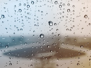 glass, Rain, water, an, drops