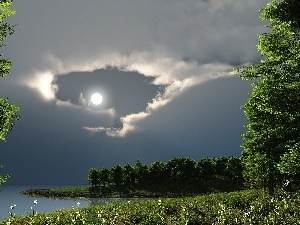 clouds, green, graphics, moon