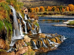 grass, autumn, rocks, forest, waterfall
