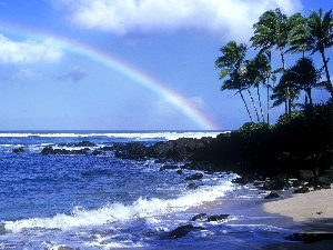 Coast, Waves, Great Rainbows, sea