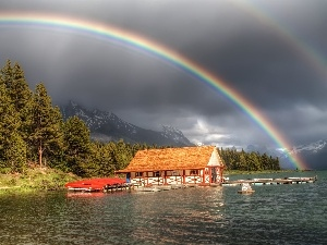 Harbour, lake, Great Rainbows