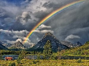 River, Mountains, Great Rainbows