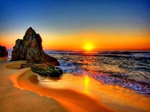 sea, rocks, Great Sunsets, Beaches