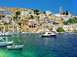 sea, Houses, Greece, boats