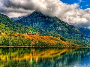 woods, lake, House, autumn, Fog, Mountains