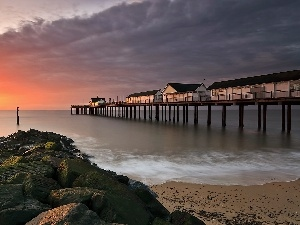 sea, west, Houses, pier, Beaches, sun