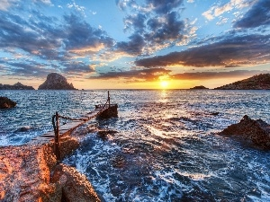 Ibiza, Spain, footbridge, sea, Coast