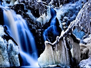 waterfall, rocks, icicle, icy
