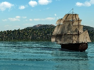 sailing vessel, sea, Island