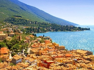 Town, sea, Italy, Mountains