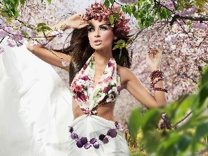 Women, Flowers, jewellery, Garden