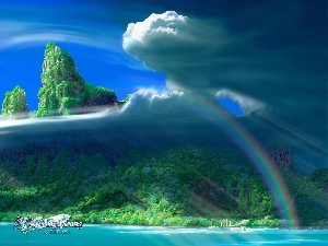 Great Rainbows, Mountains, Kagaya, clouds