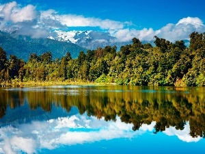 Mountains, viewes, lake, trees