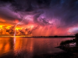 lake, thunderbolt, Storm, clouds, summer