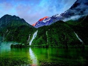 lake, Mountains, waterfalls