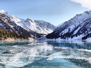 lake, Mountains, winter
