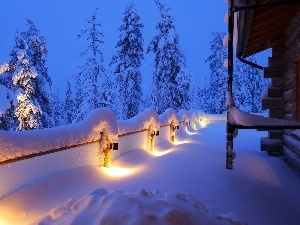 overwhelmed, terrace, Lamps, snow
