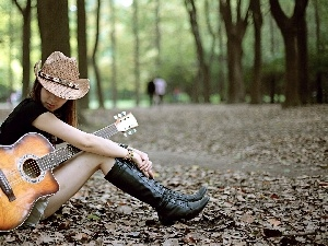 Women, Guitar, Leaf, Park