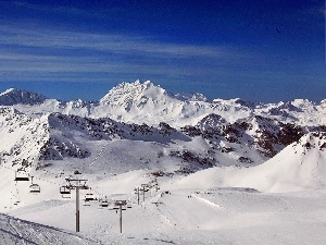 Lift, ski, Sky, snow, Mountains