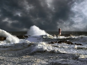 Lighthouse, maritime, sea, Waves, clouds