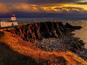 rays, sea, Lighthouse, maritime, sun, cliff
