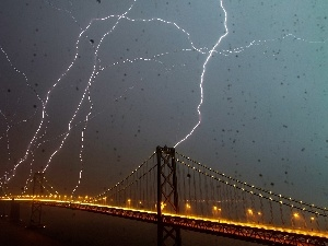 Lightning, bridge, Storm