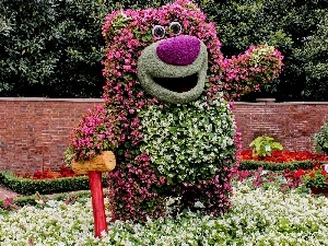 Garden, Flower, little bear, decoration