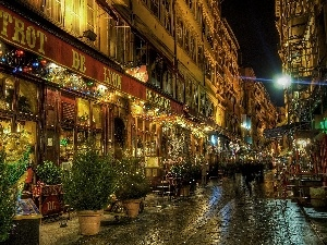 Lyon, France, Town, Night, Street