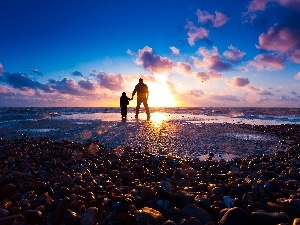 sea, west, a man, Kid, Stones, sun