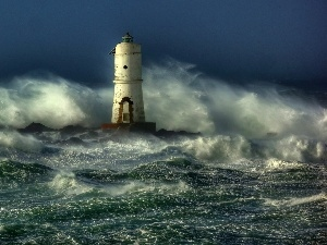 rough, Lighthouse, maritime, sea