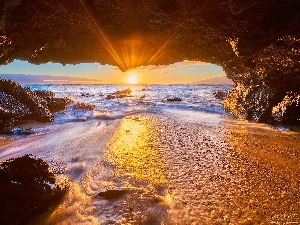Pacific Ocean, Aloha State Hawaje, cave, Great Sunsets, rocks, Maui