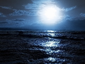 sea, Night, moon, Waves