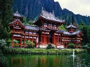 Beatyfull, palace, Mountains, Chinese