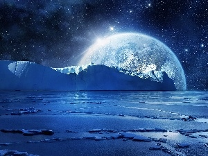 Mountains, ice, star, sea, moon