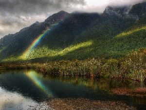 lake, Great Rainbows, Mountains, Rain