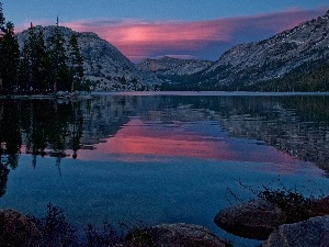 Mountains, twilight, lake