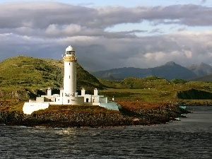 Lighthouse, sea, Mountains, maritime