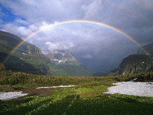 Great Rainbows, clouds, Mountains, Sky