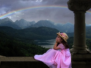 Great Rainbows, girl, Mountains