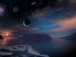 sea, Sky, Mountains, Universe