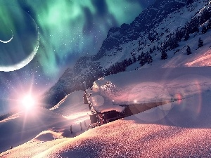 dawn, winter, Planets, Mountains, fantasy, rays of the Sun, house