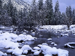 Mountains, winter, Stones, woods, River